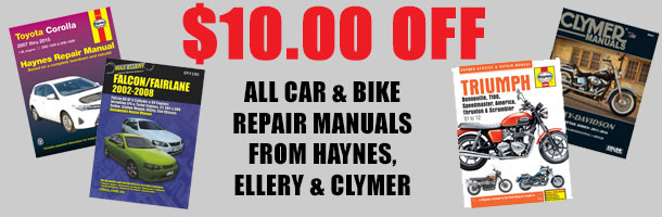 $10 off all car & bike manuals from Haynes, Ellery and Clymer