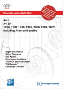 Audi A4 1996-2002 Petrol Factory Repair Manual Includes Incl Avant, Quattro & S4 DVD-ROM for Windows 2000/XP