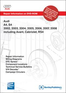Audi A4 2002-08 Petrol Factory Repair Manual Incl Avant, Cabriolet, S4, RS4 & Quattro DVD-ROM for Windows 2000/XP