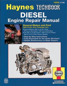 Haynes Diesel Engines Repair Manual Covers GM & Ford V8 Diesels