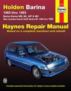 Holden Barina & Suzuki Swift 1985-93 Repair Manual 1.3 5 Door Only