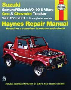 Suzuki Samurai/Sidekick/X-90 & Geo & Chevrolet Tracker 1986-2001 Repair Manual 4 Cylinder Petrol