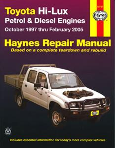 Toyota Hilux 1997-05 Repair Manual 2.0 2.7 3.4 Petrol And 3.0 Diesel Incl Turbo