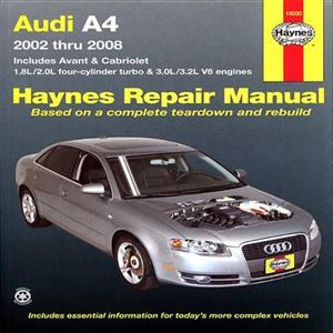 Audi A4 2002-08 Petrol Repair Manual Includes Avant And Cabriolet 1.8 2.0 3.0 3.2