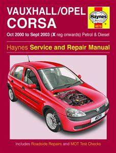 Vauxhall/Opel Corsa 2000-03 Repair Manual (NZ Holden Barina) 1.0 1.2 1.4 Petrol & 1.7 Diesel