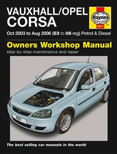 Vauxhall/Opel Corsa 2003-06 Repair Manual (NZ Holden Barina) 1.0 1.2 1.4 Petrol & 1.3 Turbodiesel