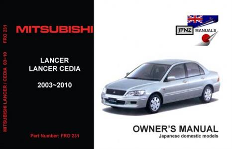 Mitsubishi Lancer Cedia 2003-10 Translated Owner's Handbook