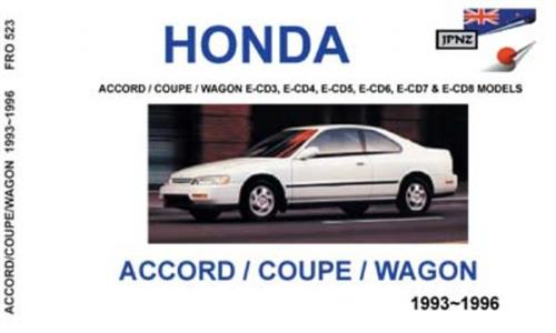 HONDA Accord 1993-1996 Translated Owner's Handbook Incl Coupe & Wagon