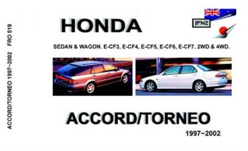 Honda Accord & Torneo 1997-02 Translated Owners Handbook Sedan & Wagon 2 & 4WD