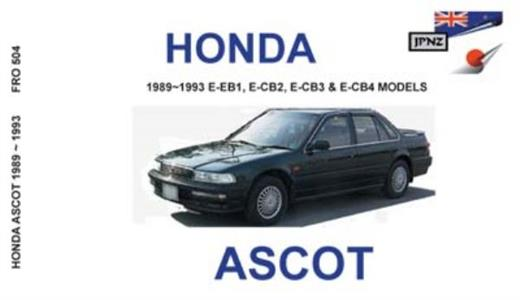 Honda Ascot 1989-1993 Translated Owner's Handbook