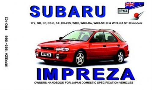 Subaru Impreza 1993-98 inc WRX Translated Owner's Handbook