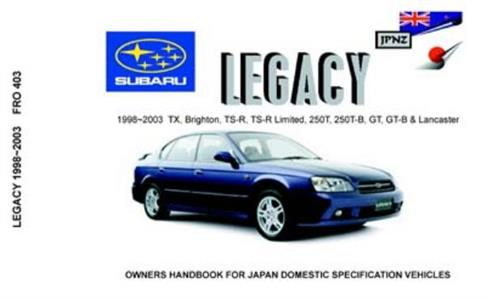 Subaru Legacy 1998-03 Translated Owner's Handbook