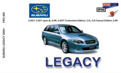Subaru Legacy 2003 on Translated Owner's Handbook