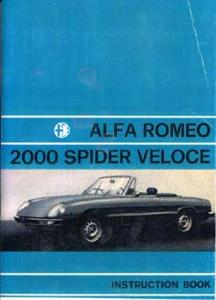 ALFA ROMEO Spider 2000 Veloce Handbook/Instruction book