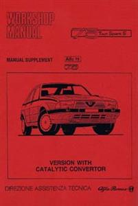ALFA ROMEO 75 Shop Manual Supplement For Catalytic Converter Models