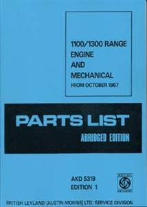 AUSTIN 1100 & 1300 1972 Parts Catalogue Reprint