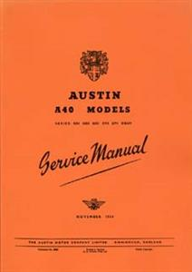 AUSTIN A40 Somerset 1954 Service Manual Reprint