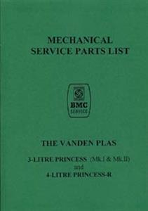 AUSTIN Vanden Plas 3 & 4 Litre Princess & R Parts Manual Reprint