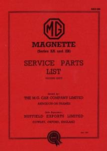 MG Magnette ZA-ZB Parts Manual Reprint