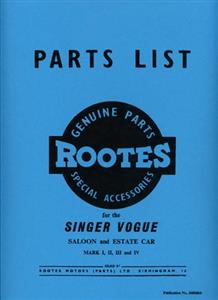 SINGER Vogue Saloon & Estate Mark I II III & IV Parts Manual Reprint Publication No.6600864