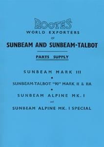 SUNBEAM Alpine & Talbot 90 1953-55 Parts Manual Reprint